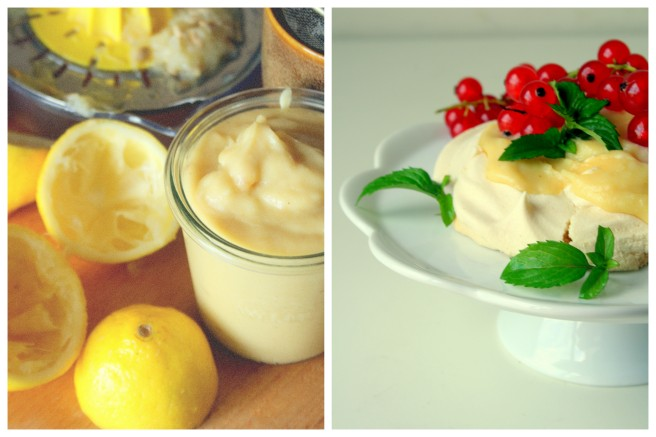 mini pavlove i wegański lemon curd
